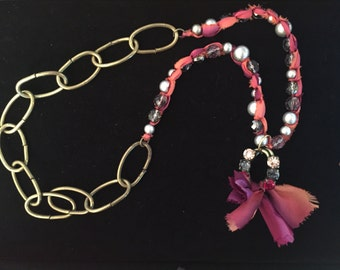 Upcycled pink Ribbon Necklace