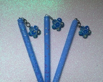 Birthday pens Polymer clay pen Hand sculpted polymer clay babyblue Polymer Clay Refillable pens baby blue pens