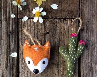 Hand Embroidered Fox & Cactus Ornament Set of 2  // Felt Ornament Set // Felt Christmas  // Woodland // Southwest // Stocking stuffer