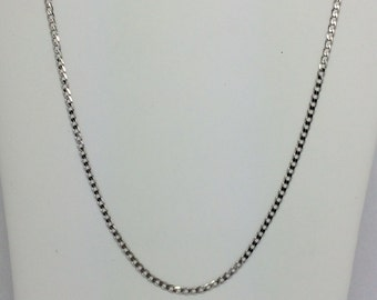 14K Solid White Gold Curb Link Chain