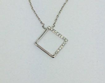 14K White Gold Open Square Diamond Necklace