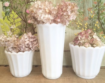 Milk Glass Vases Wedding Centerpiece Vases Wedding Vases Bridal Shower Centerpiece White Vases Party Centerpiece Vases Decorative Vases