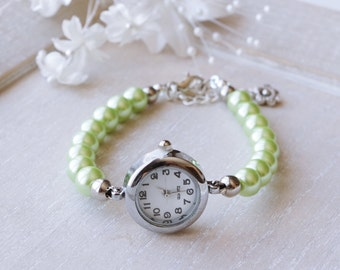 Watch Bracelet Green Pearl Bracelet Watch Pearl Wedding Jewelry Swarovski  Pearl Watch Bridesmaid Pearl Bracelet Wedding  jewelry gift