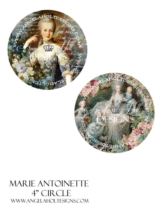 10 Vintage Marie Antoinette 4 Inch Circles for Lace Book or other Project