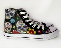 sugar skull Shoes fabric covered plimsolls, trainers, hi tops. goth punk alternative custom rockabilly shoes