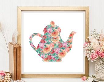 Printable Wall Art, Kitchen Decor, Teapot Artprint, Time For Tea, Housewarming Gift, Cottage Chic Decor
