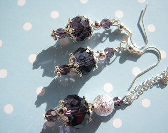 Bridesmaid Gift Bridal Jewelry Bridesmaid Jewelry Bridesmaid Set Crystal Jewelry Wedding jewelry Purple necklace Purple earrings Gift