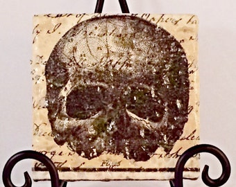 Creepy Skull Coaster Set  ( Set includes 4 Tiles )