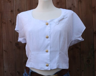 White Cropped Blouse with Bow