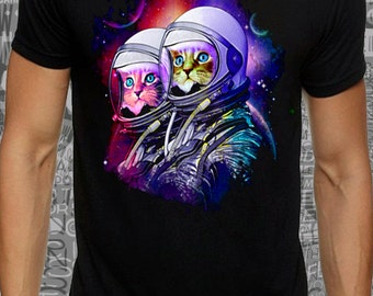 Men or women #color  #galactic #cats print on #black #lose or #tight #cotton #t-shirt available big sizes - #dream #tee