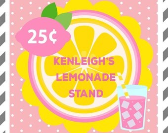 Pink Lemonade Birthday Party-Favor Tags-Set of 12