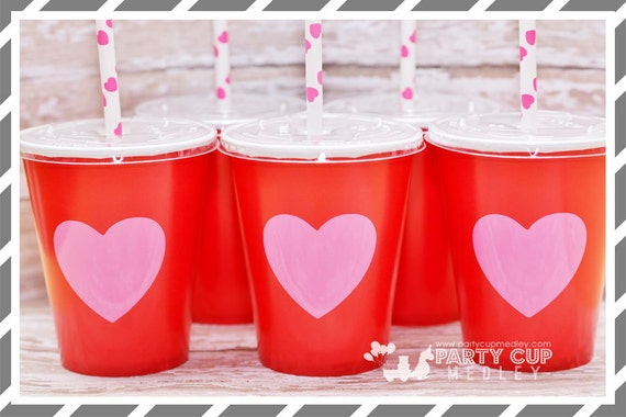 Valentine Heart Party Cups Each Sturdy Paper Cup Is Hot Pink With Red  Heart. Coordinate Theses Cups With Solid Colored Tableware And Accessories  For ...