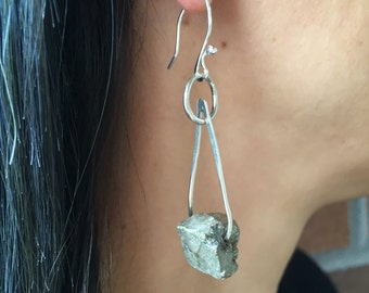 Sculpted pyrite earrings, hand sculpted brutalist jewelry, gift for her,  hypoallergenic, two tone earrings, modern sterling