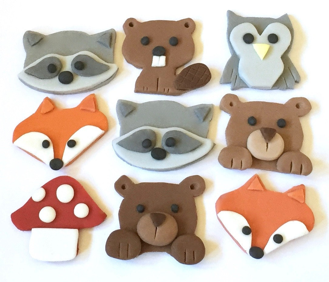 9 x edible icing woodland animal themed cupcake by for Animals decoration
