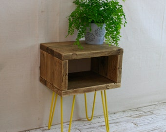 Pair Of Hairpin Leg Bedside Tables Made From Reclaimed Scaffold Boards