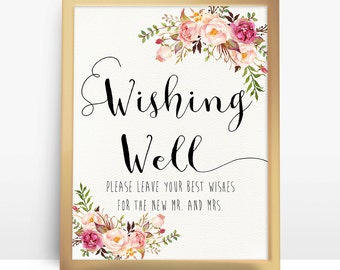 Pink floral Wishing Well Wedding Sign, 8x10 A4 8.5x11 Wishing Well Sign, Wedding Sign, Printable Wedding Signs, Wedding Decor Signs - PF-18