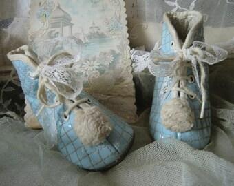 Vintage pastel blue baby shoes sweet french shabbychic