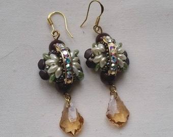 "boucles d'oreilles ""grand butterfly"" baroque light topaz"