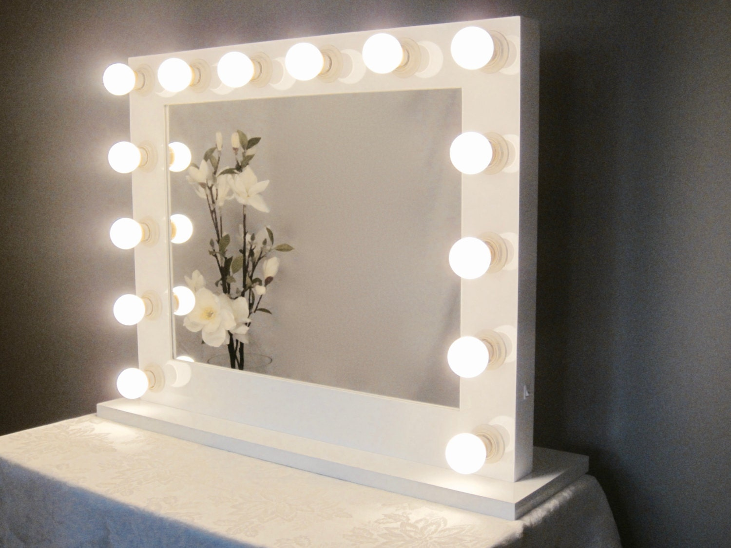 Grand hollywood lighted vanity mirror w led bulbs by - Bedroom vanity mirror with lights ...
