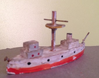 Hand made ship, crafted toy boat, miniture hand made toy ship.