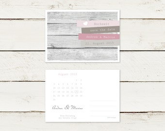 50 x save the date postcard | Wood look