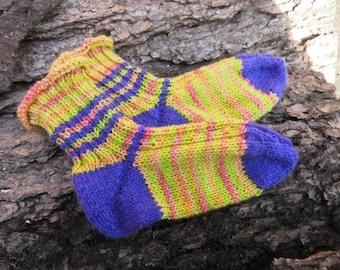 "Children's socks, baby socks, socks, ""happy feat""size 24-25, 80% pure new wool (Merino), Waldorf """