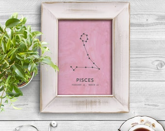 Pisces Zodiac Sign Horoscope Constellation Pastel Watercolor 8x10 inch Poster Print - P1193