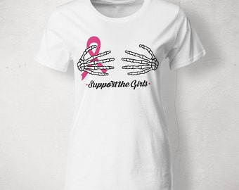 Support the girls, breast cancer awareness shirt, handmade, made to order