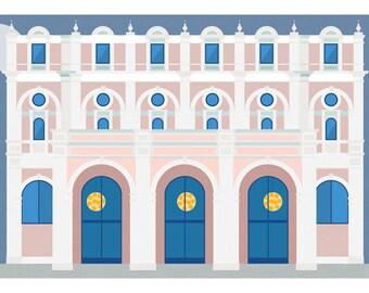 """Milan Icons """"Teatro Dal Verme in Milan-horizontal card 21x10 cm"""