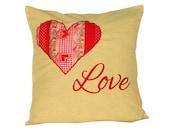 Kawaii pillow Patchwork heart Love Pillow Valentine's day gift Yellow cotton pillow Decorative pillowcase Embroidery Throw pillow 40x40