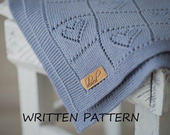 Knitted Baby Blanket Pattern Will Be Sent By Post, Knitting Pattern Baby Blanket, Heart Baby Blanket Knitting Pattern in English