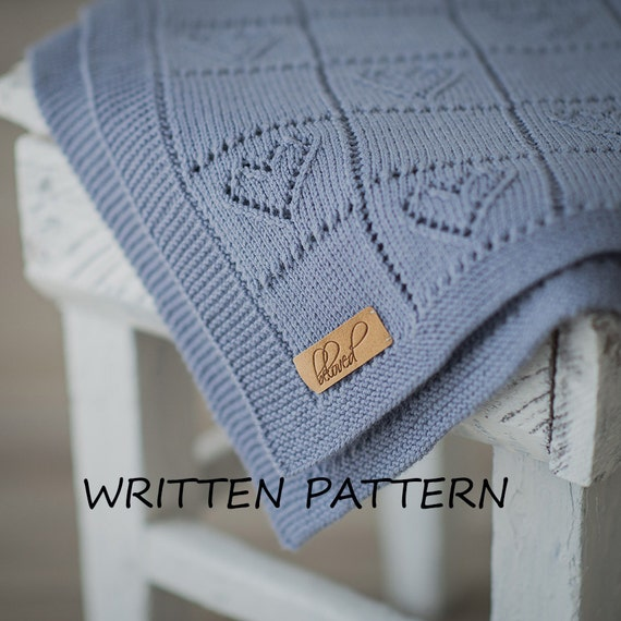 Knitting Pattern Heart Blanket : Knitted Baby Blanket Written Pattern Knitting Pattern Baby