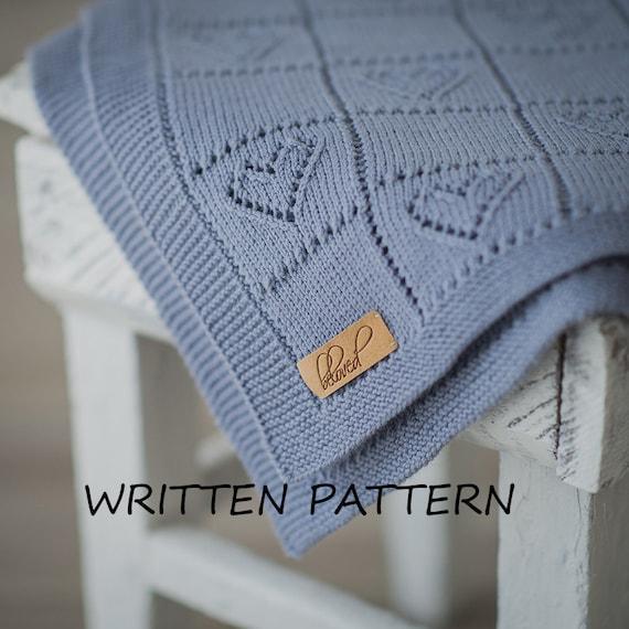 Knitting Pattern Heart Blanket : Knitted Baby Blanket Written Pattern Knitting Pattern Baby