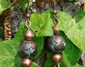 Celtic style handmade copper earrings