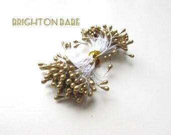50 Gold Flower stamens, Gold flower pips milinery. Flower pips for fabric flowers. UK Seller