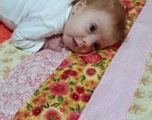 Baby Girl Quilt Handmade Size 27 1/2 x 29 inches