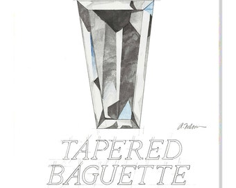 Tapered Baguette Diamond Watercolor Rendering printed on Canvas