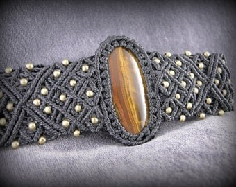 Macrame cuff bracelet with a tiger eye cabochon