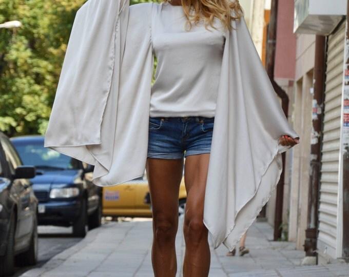 Asymmetric Long Sleeves Shirt, Plus Size Maxi Tunic Top, Casual Satin Shirt, Loose Open Back Top By SSDfashion