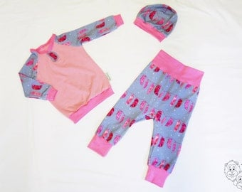 Baby set with feathers - size 6-12 m