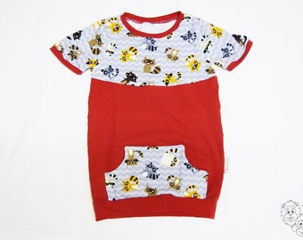 Raccoon T-Shirt with pocket - 4-5 years