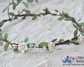 Boho wedding Bridal Flower Crown Hair Wreath white halo Engagement flower crown Accessories prom flowers Woodland garland music LV12