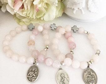 Rose Quartz Fertility / Infertility Saint Rosary Bracelets