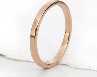 2mm Flat Wedding Ring, 18k Gold or Platinum