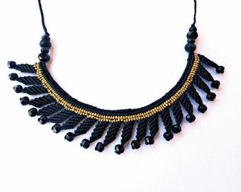 Black gold necklace, Macrame necklace, Black statement necklace, Macrame jewelry, Black crystal necklace, Black gold jewelry, Bib necklace