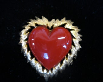 valentine flaming heart brooch