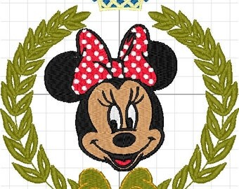 Minnie mouse with wreath machine embroidery