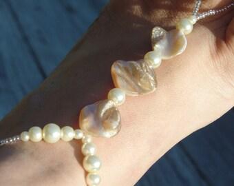 Seashell Beach Wedding barefoot Sandals, Pearls, Soleless Sandals, Ivory shells, Beach, reception, bridesmaid