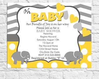 Yellow Baby Shower Invitation Gender Neutral ,Gray Chevron Polka Dot Hearts Digital File DIY DownloadPrintable