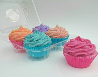 Bath Bomb Cupcakes with Shea Butter Soap Icing (4 pack) Great Birthday gift for that special someone! Free gift messaging available!